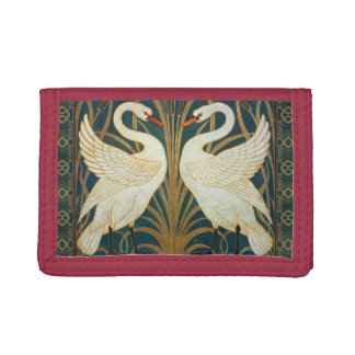 Walter Crane Swan, Rush And Iris Art Nouveau Tri-fold Wallet