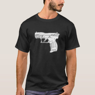 walter p22 gun firearm stencil graphic t-shirt