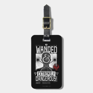 Wanded & Extremely Dangerous Wanted Poster - White Luggage Tag