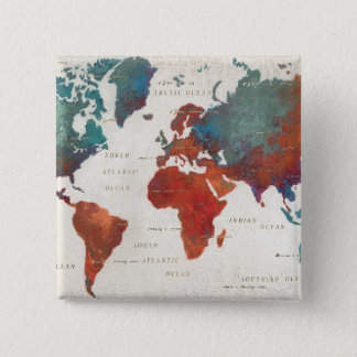 Wander Often, Wander Always Map With Quote 15 Cm Square Badge