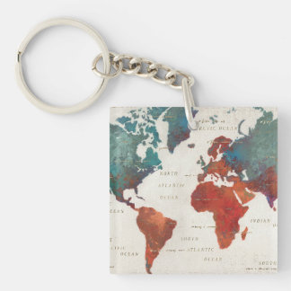 Wander Often, Wander Always Map With Quote Key Ring