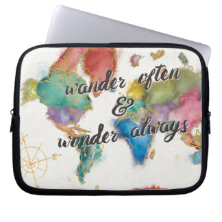 Wander Often, Wander Always Map With Quote Laptop Sleeve
