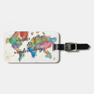 Wander Often, Wander Always Map With Quote Luggage Tag
