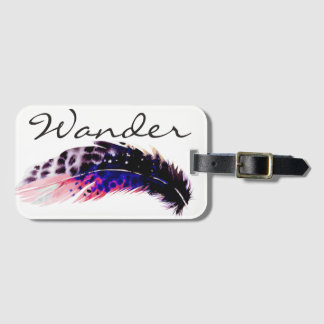 Wander Pink Bohemian Watercolor Feather Luggage Tag