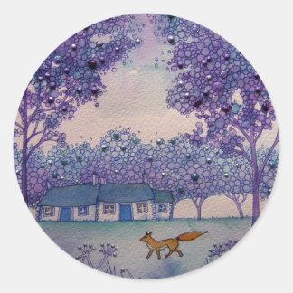 Wandering fox classic round sticker