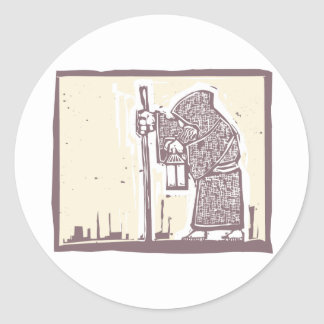 Wandering Monk Round Sticker