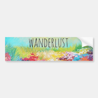 WANDERLUST Abstract Nature Art Typography Painting Bumper Sticker