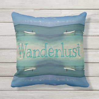 Wanderlust Beach Ocean Artistic Symmetry Throw Pillow