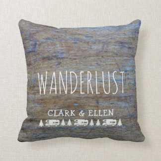 Wanderlust Custom Name | Rustic Wood RV Camper Cushion