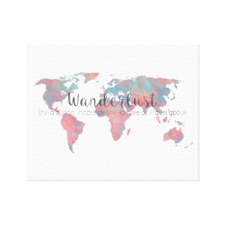 Wanderlust definition on watercolor World map Canvas Print