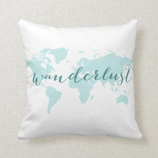Wanderlust, desire to travel, teal world map cushion