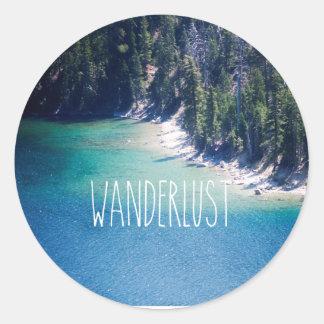 Wanderlust Lake Tahoe Round Sticker