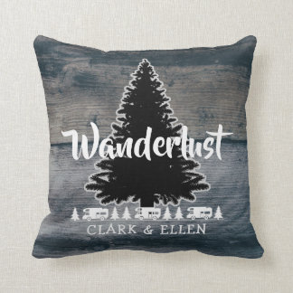 Wanderlust Pine Tree Rustic Grey Wood RV Camper Cushion