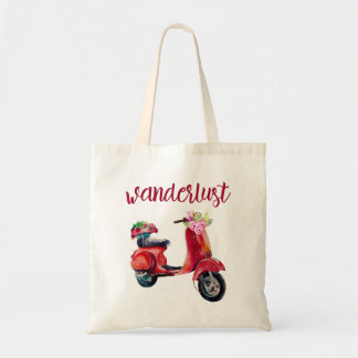 Wanderlust - Red Watercolor Moped With Flowers