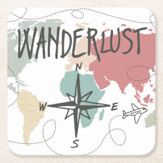Wanderlust Square Paper Coaster