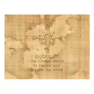 """Wanderlust..."" Traveling Quote on Vintage Paper Postcard"