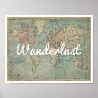 Wanderlust Vintage map Poster