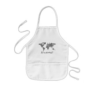 Wanderlust, world map with flying birds kids apron