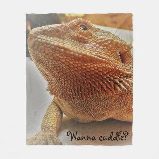 Wanna cuddle Cute Bearded Dragon Print Fleece Blanket