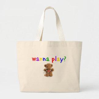 Wanna Play? Large Tote Bag
