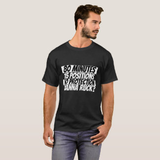 Wanna Ruck Rugby Humor Black White T-Shirt