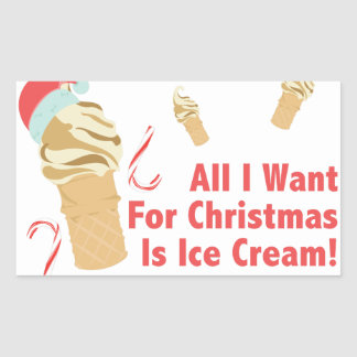 Want Ice Cream Rectangular Sticker