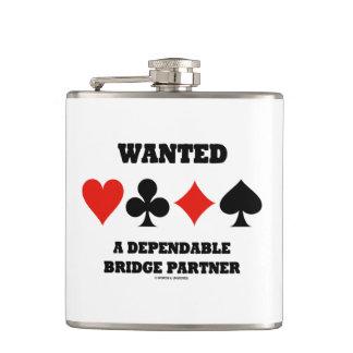 Wanted A Dependable Bridge Partner Four Card Suits Hip Flask