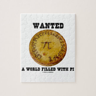 Wanted A World Filled With Pi (Pi Pie Math Humor) Jigsaw Puzzle