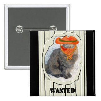 Wanted Cat 15 Cm Square Badge