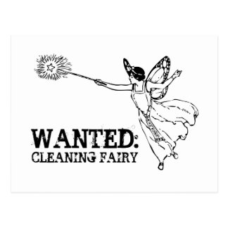 WANTED Cleaning Fairy Postcard