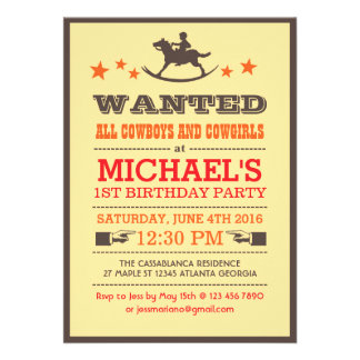 Wanted Country Western Cowboy Birthday Invitation