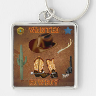 Wanted Cowboy boots hat gun cactus western Silver-Colored Square Key Ring