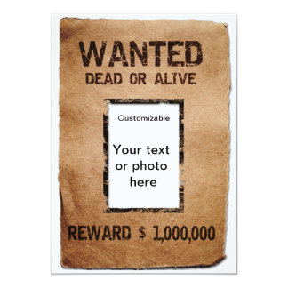 Wanted Dead or Alive Poster 13 Cm X 18 Cm Invitation Card