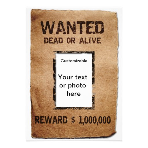 Wanted Dead or Alive Poster Custom Announcement