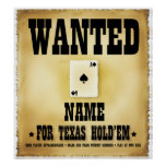 Wanted for Texas Holdem Poster