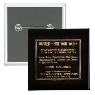 Wanted for War Work Vintage World War I 15 Cm Square Badge
