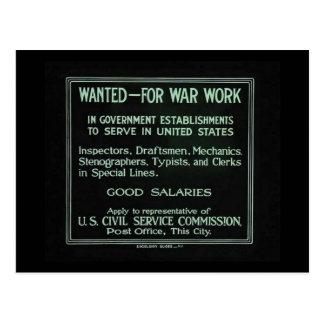Wanted for War Work Vintage World War I Postcard