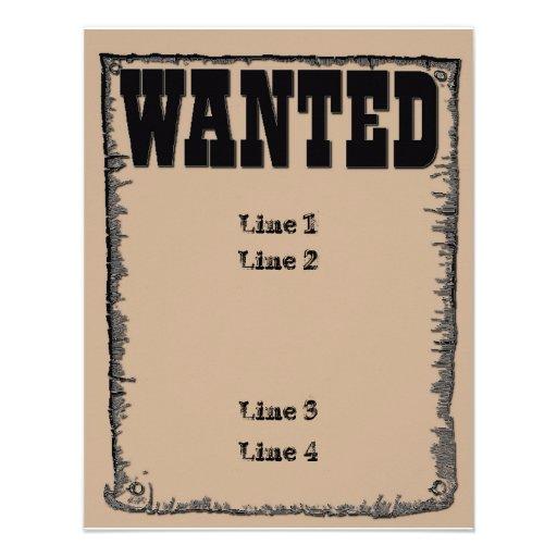 Wanted Custom Invitation