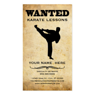 wanted : karate lessons business card