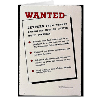 Wanted, Letters From Former Employees Now On Activ Greeting Card