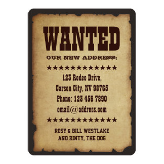WANTED: Our New Address 14 Cm X 19 Cm Invitation Card