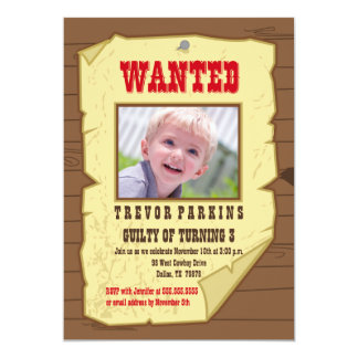 Wanted photo poster cowboy birthday party invite