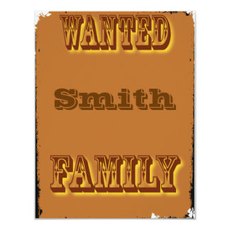 Wanted poster 11 cm x 14 cm invitation card