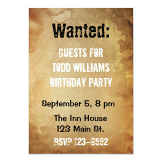 Wanted Poster Birthday Invitation