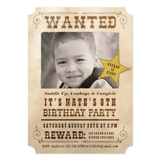 Wanted Poster Cowboy Birthday Party Invitation