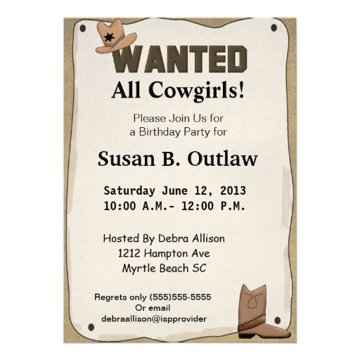 Wanted Poster Cowgirl Birthday Invitation