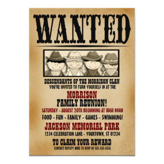 "Wanted Poster Family Reunion Barbeque Invitation 5"" X 7"" Invitation Card"