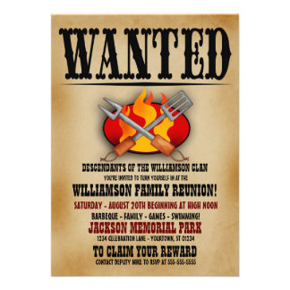 Wanted Poster Family Reunion Barbeque Invitations