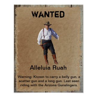 Wanted Poster Gunslinger of West