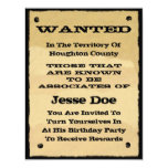 Wanted Poster Invitations Fun Western Cowboy Party 11 Cm X 14 Cm Invitation Card